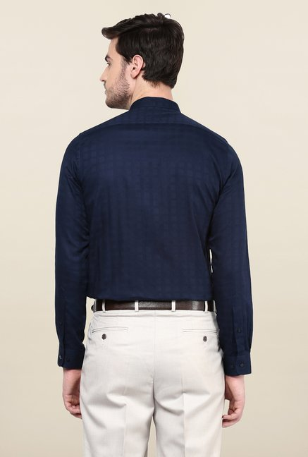Turtle Navy Blue Textured Formal Shirt