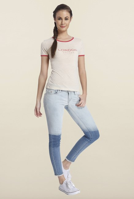 Only Misty Rose Graphic Printed T-shirt