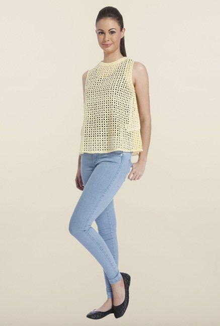 Only Yellow Solid Cotton Top
