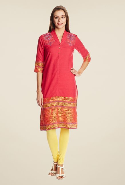 Aurelia Red V Neck Cotton Kurta