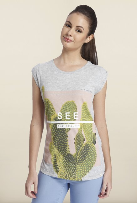 Only Light Gray Graphic Printed Cotton T-shirt