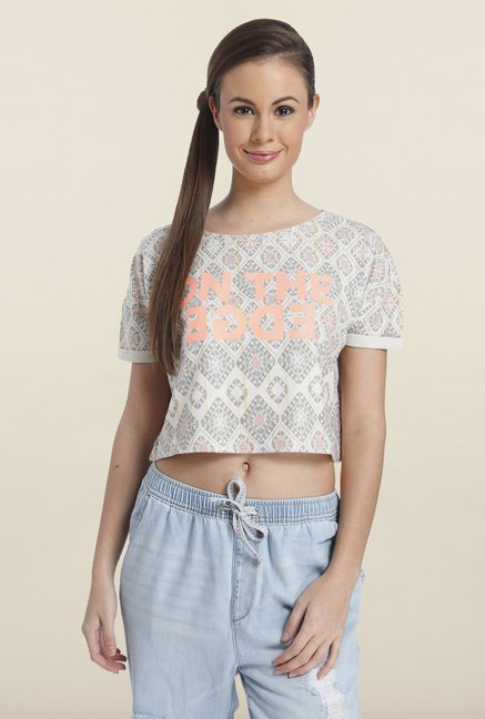 Only Bone White Printed Top