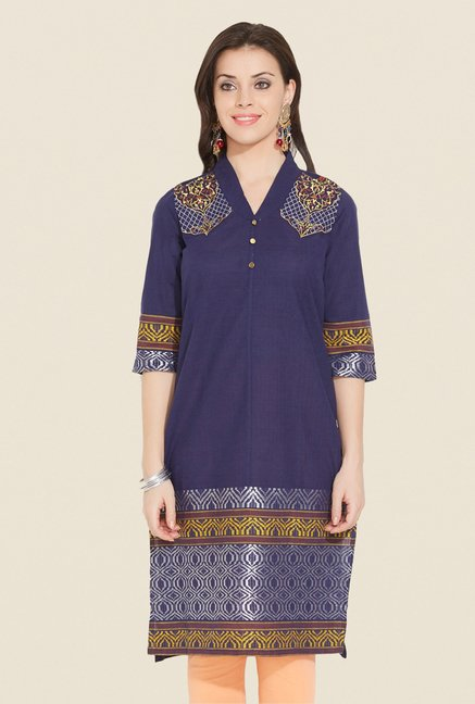 Aurelia Navy Printed Regular Fit Kurta