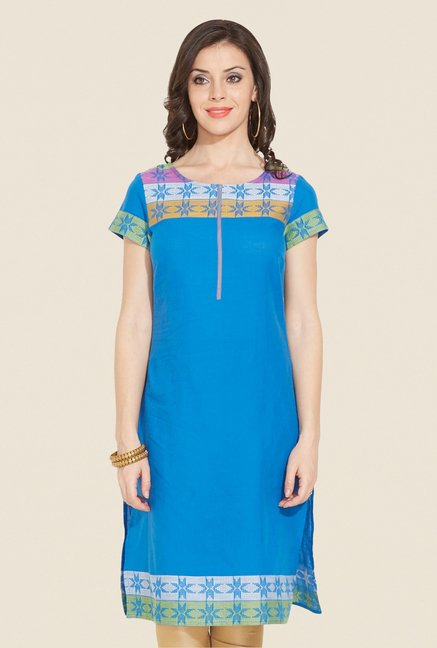 Aurelia Blue Regular Fit Printed Kurta