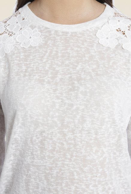 Only White Solid 3/4th sleeves Top