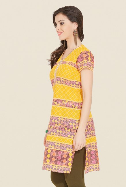 Aurelia Yellow Printed V Neck Kurta