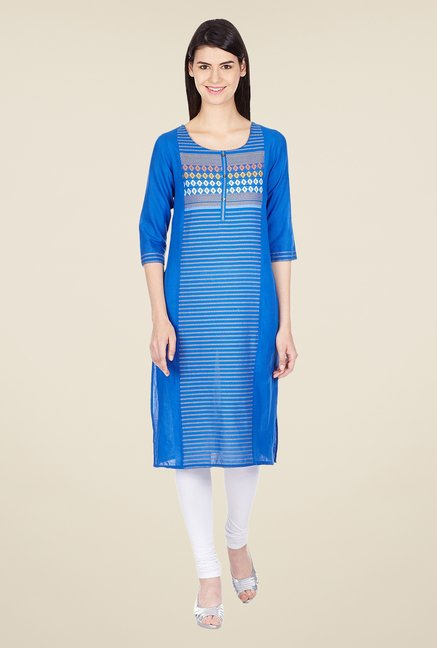 Aurelia Blue Cotton Kurta