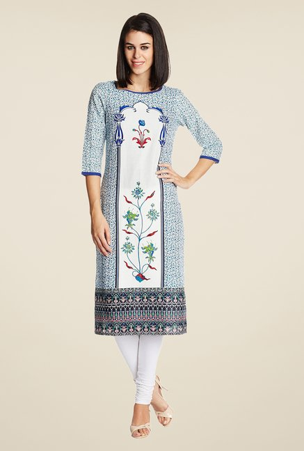 Aurelia White Cotton Printed Kurta