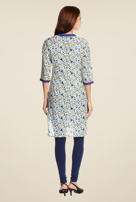 Aurelia Off White Printed Cotton Kurta