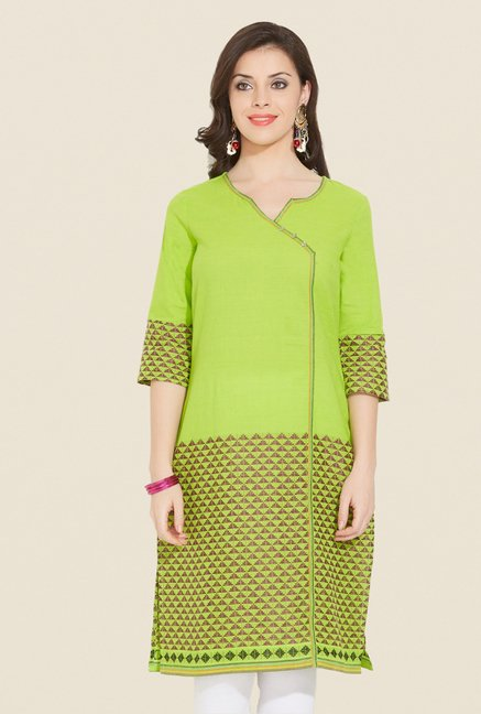 Aurelia Lime Printed Cotton Kurta
