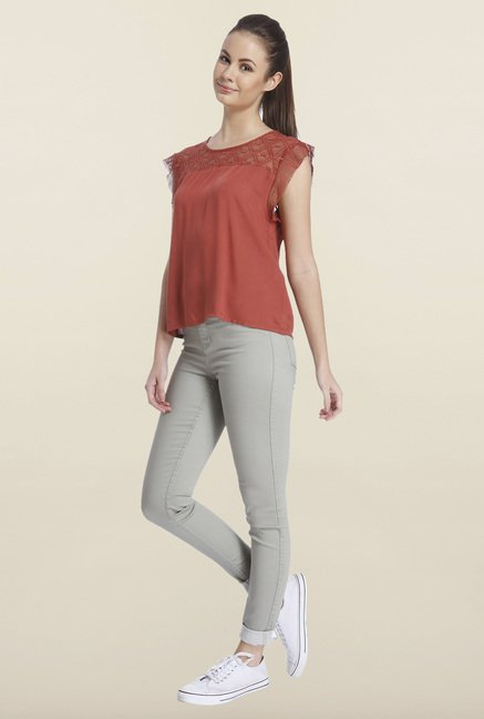 Only Marsala Solid Regular-fit Top