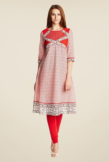 Aurelia Red Cotton Boat Neck Kurta