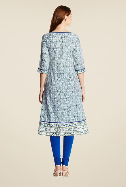 Aurelia Blue Printed Regular Fit Kurta