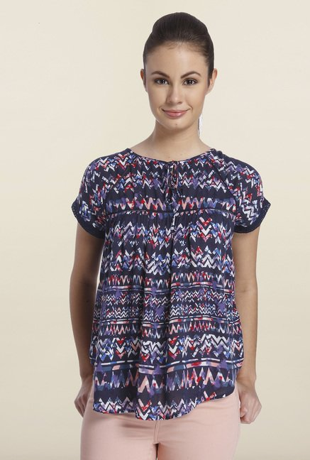 Only Navy Aztec Printed Top