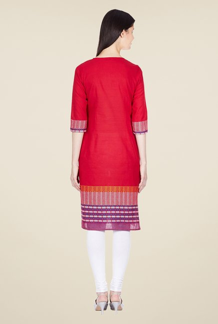 Aurelia Red Regular Fit Printed Kurta