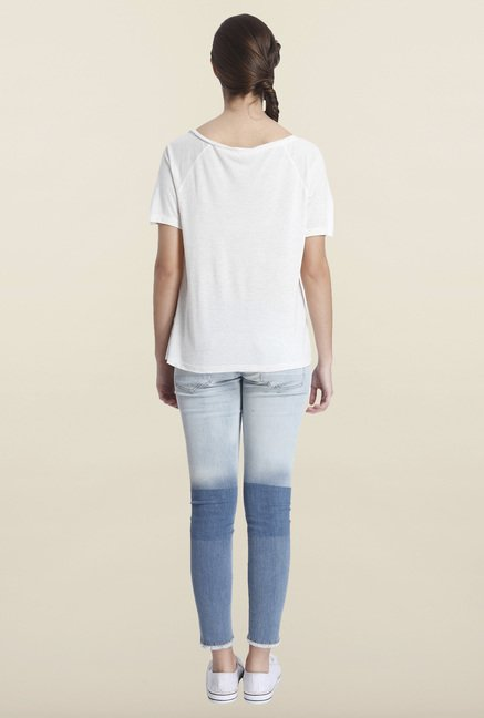 Only Light Gray Embroidered T-shirt