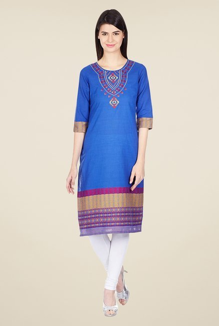 Aurelia Blue Printed Cotton Kurta