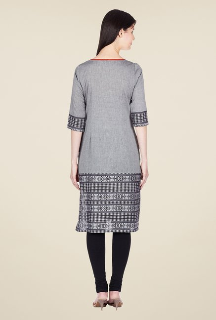 Aurelia Grey Printed Cotton Kurta