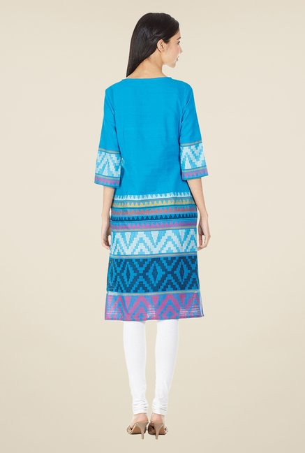 Aurelia Light Blue Aztec Print Kurta