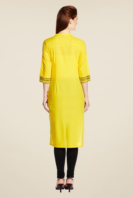 Aurelia Yellow Printed Regular Fit Kurta