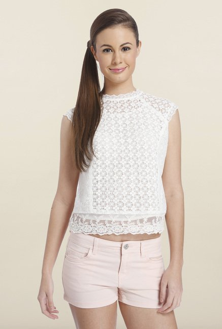 Only Egret Solid Slim-fit Top