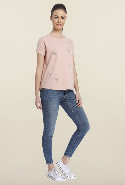 Only Misty Rose Embellished Top