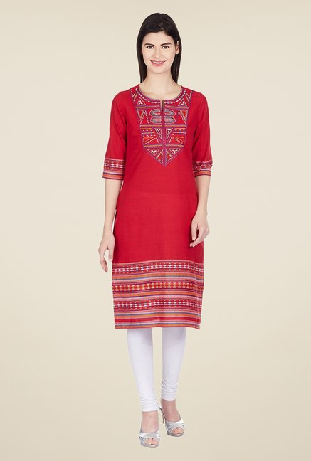 Aurelia Red Cotton Regular Fit Kurta