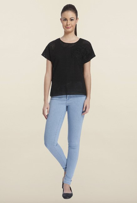 Only Black Round Neck Cotton Top