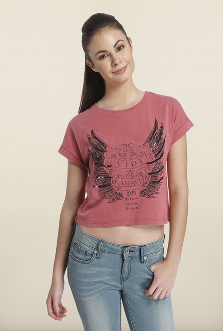 Only Marsala Graphic Printed Crop Top