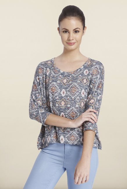 Only Night Blue Printed Top