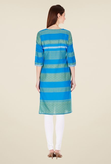 Aurelia Blue Regular Fit Cotton Kurta