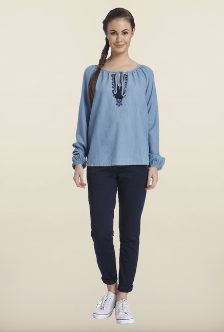 Only Denim Blue Embroidered Top