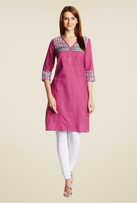 Aurelia Purple Printed Cotton Kurta