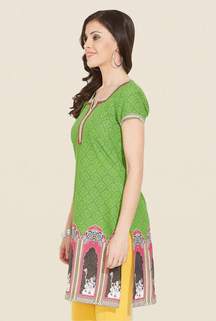 Aurelia Green Cotton Printed Kurta