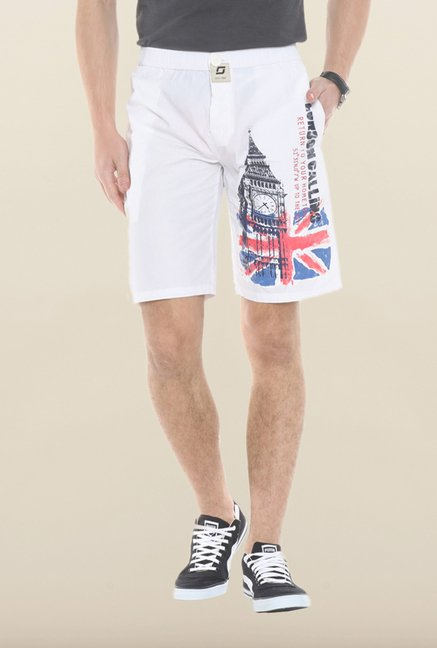 Sweet Dreams White Graphic Print Jamaican Shorts