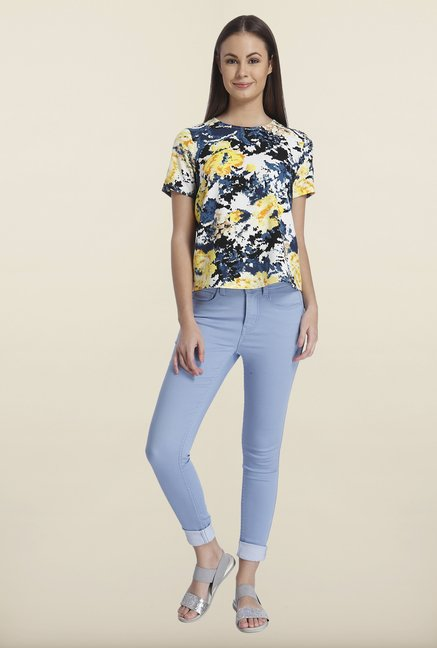Only Yellow & Navy Short Sleeve Printed Top