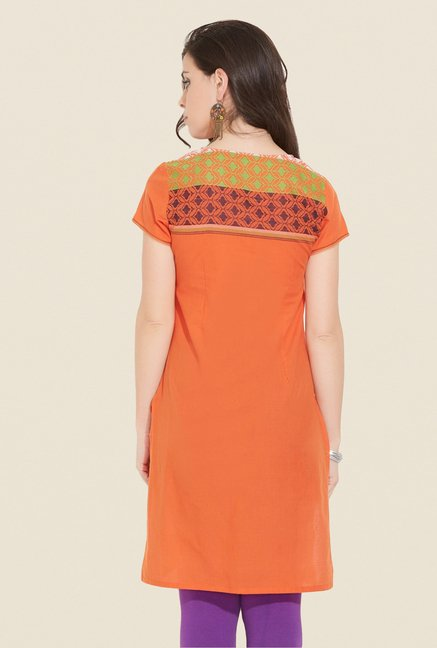 Aurelia Orange Cotton Solid Kurta