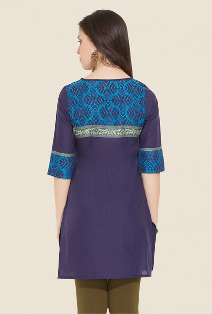 Aurelia Navy Printed Regular Fit Kurti