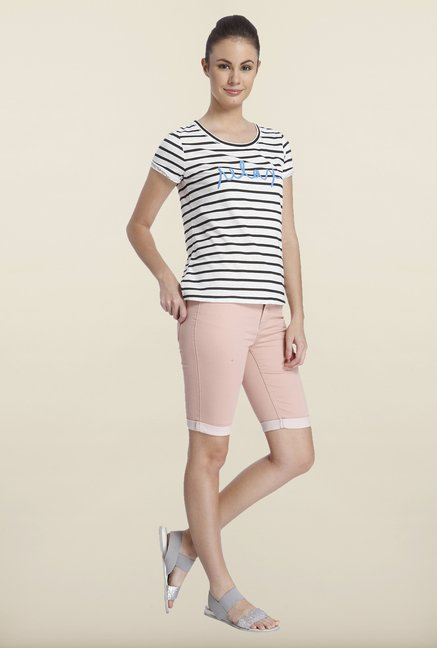 Only White Striped Cotton T-shirt