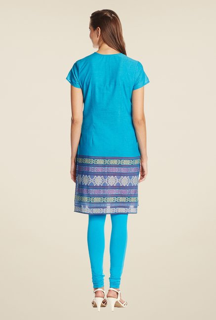 Aurelia Blue Cotton Regular Fit Kurta
