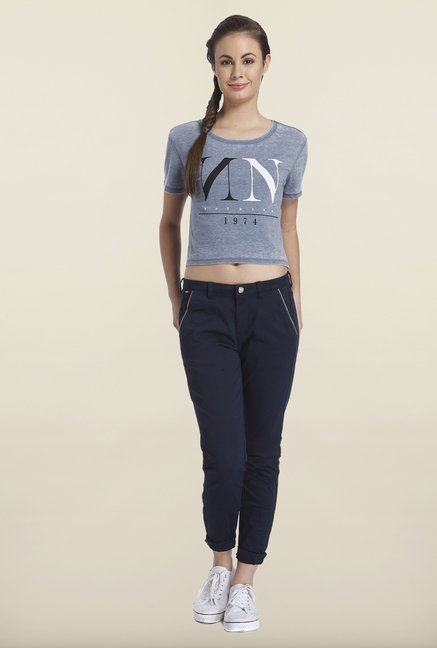 Only Indigo Regular Fit Crop Top