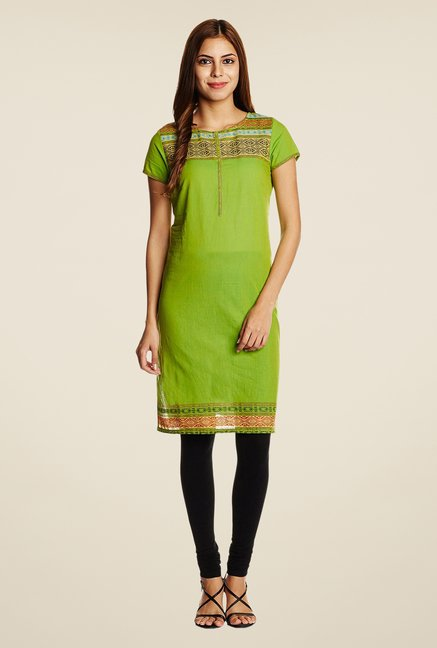 Aurelia Green Printed Regular Fit Kurta