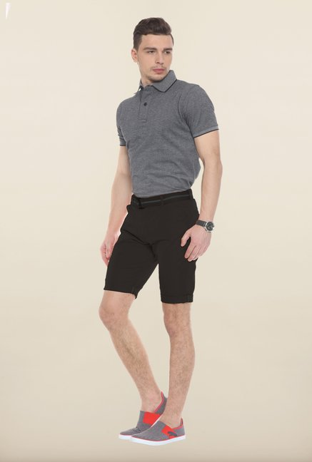 Sweet Dreams Black Solid Cotton Jamaican Shorts