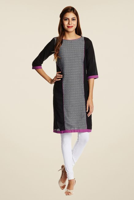 Aurelia Black Cotton Printed Kurta