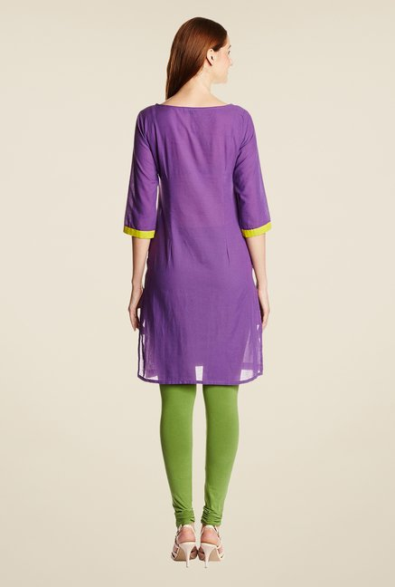 Aurelia Purple Cotton Printed Kurta