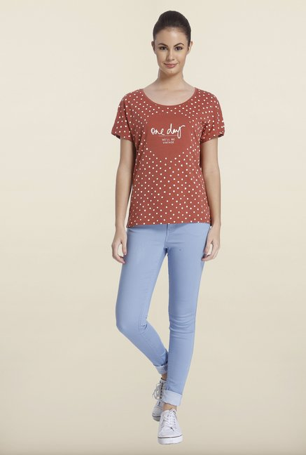Only Marsala Graphic Printed Cotton T-shirt