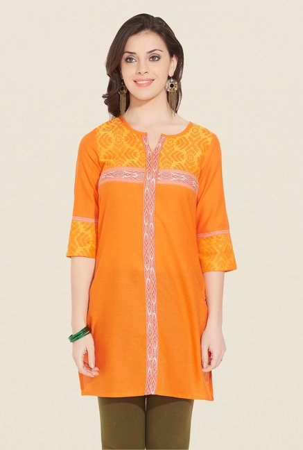 Aurelia Orange Printed Kurti