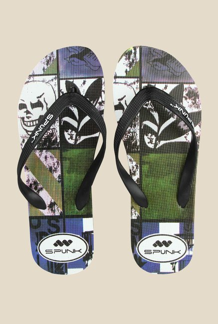 Spunk Skull Black & Green Slippers