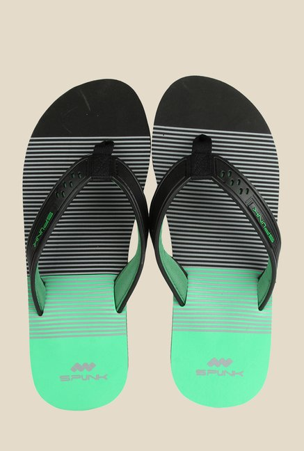 Spunk Vista Black & Green Slippers