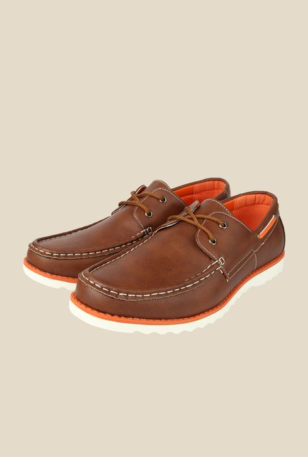 Spunk Ciaz Brown & Orange Boat Shoes